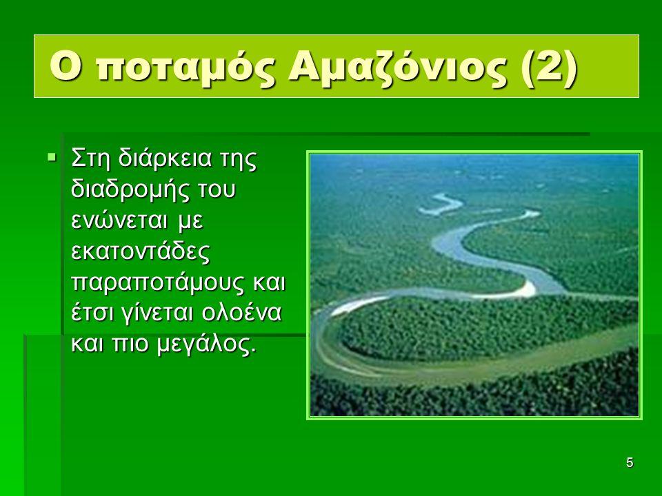 5 Ο ποταμός Αμαζόνιος (2)  Στη διάρκεια της διαδρομής του ενώνεται με εκατοντάδες παραποτάμους και έτσι γίνεται ολοένα και πιο μεγάλος.