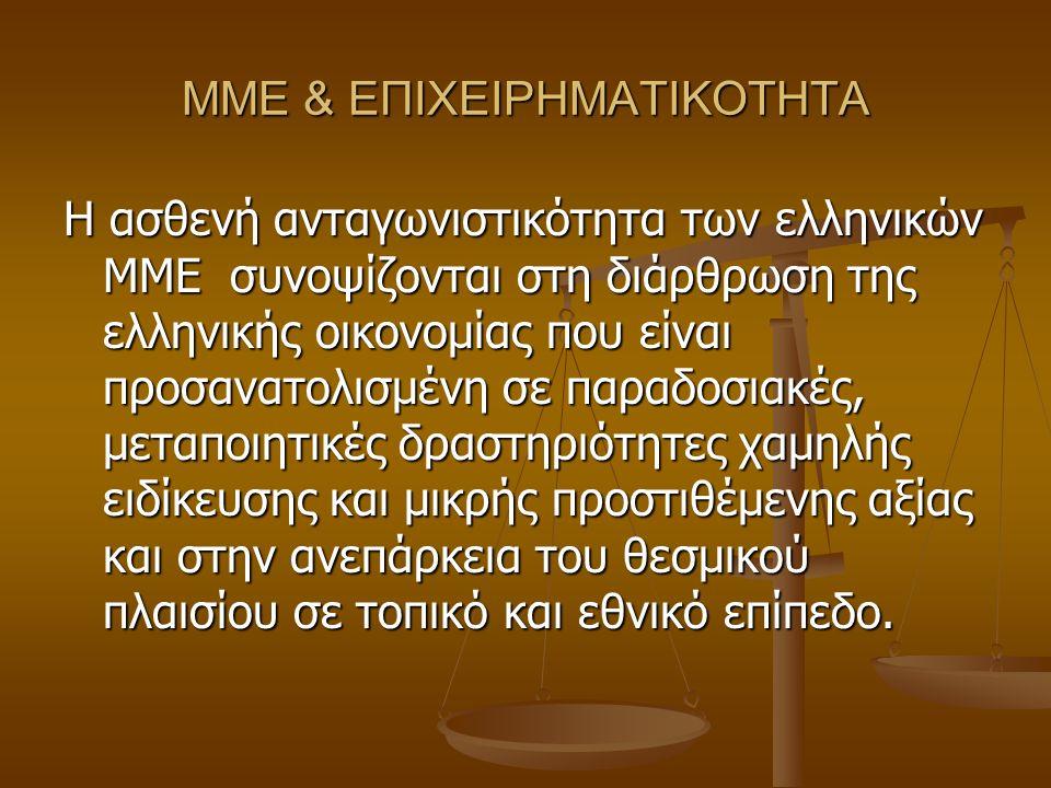 ΜΜΕ & ΕΠΙΧΕΙΡΗΜΑΤΙΚΟΤΗΤΑ Η ασθενή ανταγωνιστικότητα των ελληνικών ΜΜΕ συνοψίζονται στη διάρθρωση της ελληνικής οικονομίας που είναι προσανατολισμένη σε παραδοσιακές, μεταποιητικές δραστηριότητες χαμηλής ειδίκευσης και μικρής προστιθέμενης αξίας και στην ανεπάρκεια του θεσμικού πλαισίου σε τοπικό και εθνικό επίπεδο.