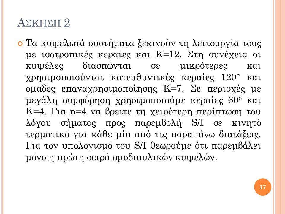 Α ΣΚΗΣΗ 2 Τα κυψελωτά συστήματα ξεκινούν τη λειτουργία τους με ισοτροπικές κεραίες και Κ=12.