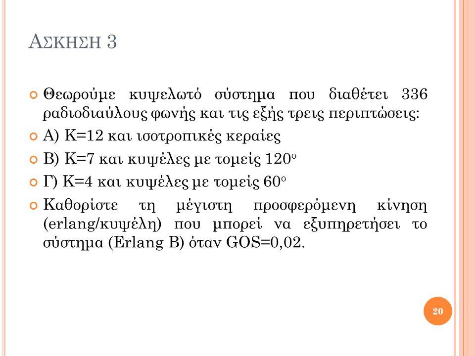 Α ΣΚΗΣΗ 3 Θεωρούμε κυψελωτό σύστημα που διαθέτει 336 ραδιοδιαύλους φωνής και τις εξής τρεις περιπτώσεις: Α) Κ=12 και ισοτροπικές κεραίες Β) Κ=7 και κυψέλες με τομείς 120 ο Γ) Κ=4 και κυψέλες με τομείς 60 ο Καθορίστε τη μέγιστη προσφερόμενη κίνηση (erlang/κυψέλη) που μπορεί να εξυπηρετήσει το σύστημα (Erlang B) όταν GOS=0,02.