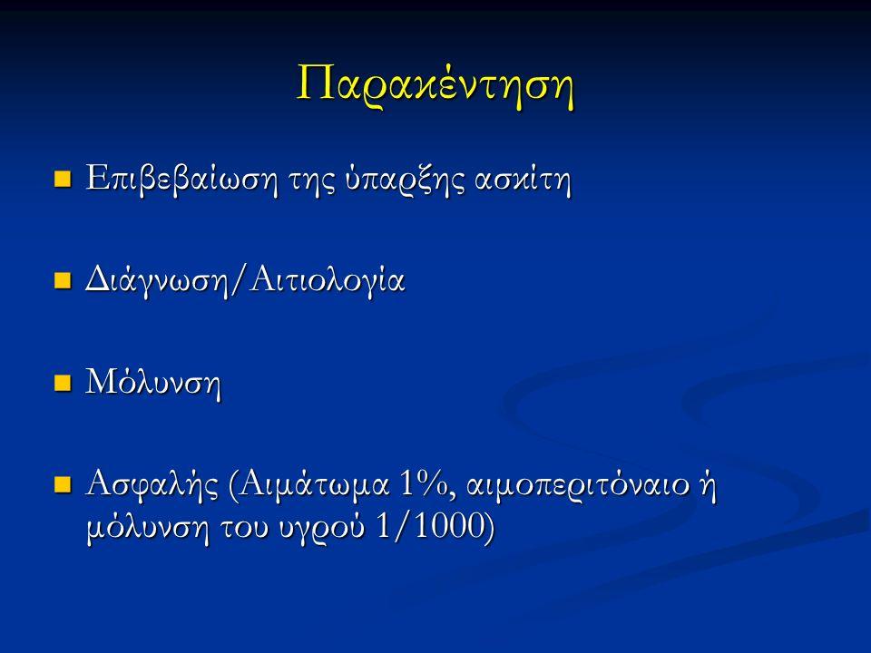 Παρακέντηση Επιβεβαίωση της ύπαρξης ασκίτη Επιβεβαίωση της ύπαρξης ασκίτη Διάγνωση/Αιτιολογία Διάγνωση/Αιτιολογία Μόλυνση Μόλυνση Ασφαλής (Αιμάτωμα 1%, αιμοπεριτόναιο ή μόλυνση του υγρού 1/1000) Ασφαλής (Αιμάτωμα 1%, αιμοπεριτόναιο ή μόλυνση του υγρού 1/1000)