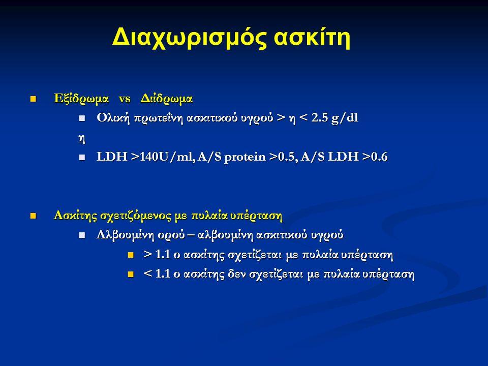 Εξίδρωμα vs Διίδρωμα Εξίδρωμα vs Διίδρωμα Ολική πρωτεΐνη ασκιτικού υγρού > η η < 2.5 g/dlη LDH >140U/ml, A/S protein >0.5, A/S LDH >0.6 LDH >140U/ml, A/S protein >0.5, A/S LDH >0.6 Ασκίτης σχετιζόμενος με πυλαία υπέρταση Ασκίτης σχετιζόμενος με πυλαία υπέρταση Αλβουμίνη ορού – αλβουμίνη ασκιτικού υγρού Αλβουμίνη ορού – αλβουμίνη ασκιτικού υγρού > 1.1 ο ασκίτης σχετίζεται με πυλαία υπέρταση > 1.1 ο ασκίτης σχετίζεται με πυλαία υπέρταση < 1.1 ο ασκίτης δεν σχετίζεται με πυλαία υπέρταση < 1.1 ο ασκίτης δεν σχετίζεται με πυλαία υπέρταση Διαχωρισμός ασκίτη