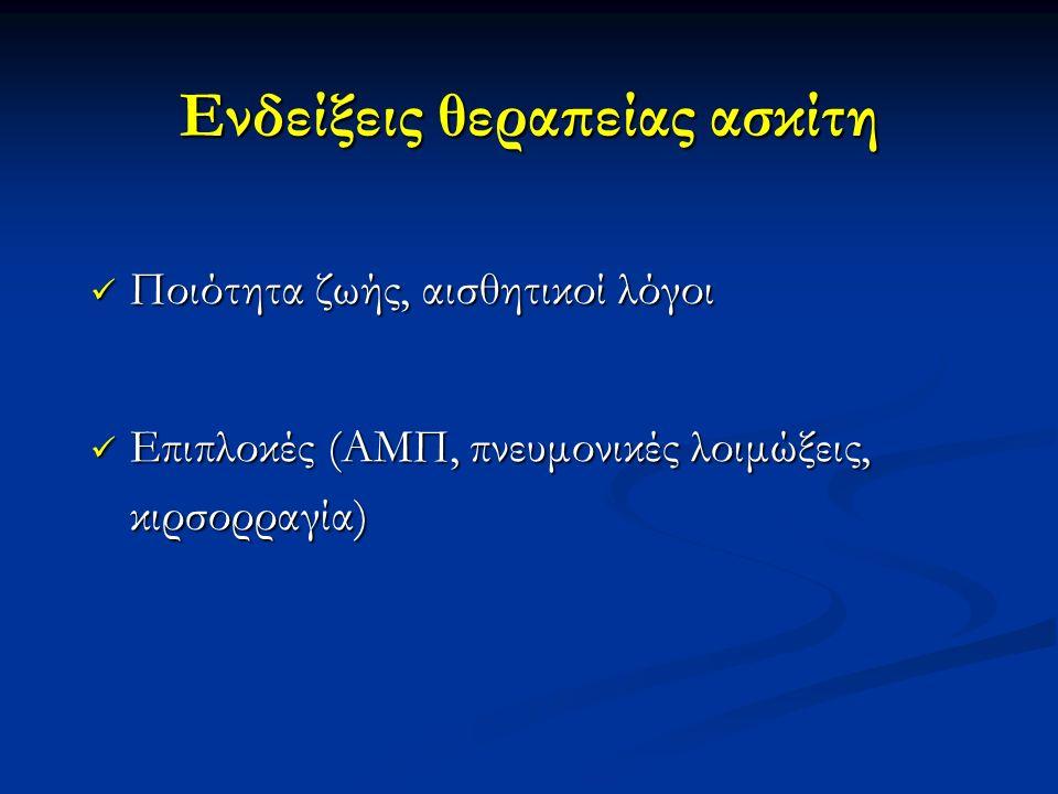 Ενδείξεις θεραπείας ασκίτη Ποιότητα ζωής, αισθητικοί λόγοι Ποιότητα ζωής, αισθητικοί λόγοι Επιπλοκές (ΑΜΠ, πνευμονικές λοιμώξεις, κιρσορραγία) Επιπλοκές (ΑΜΠ, πνευμονικές λοιμώξεις, κιρσορραγία)