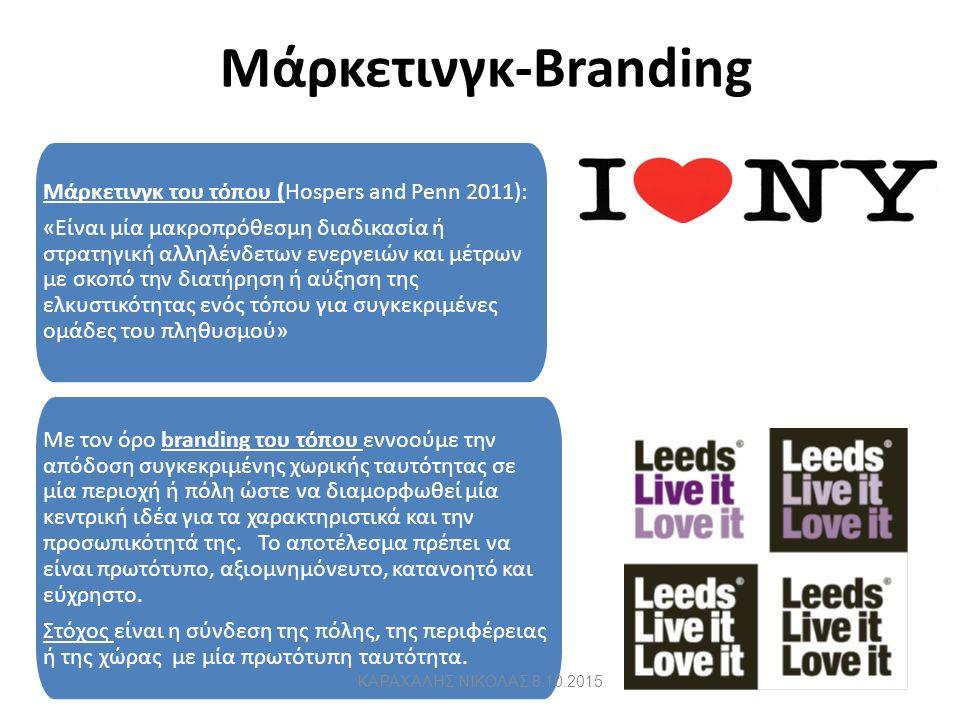Μάρκετινγκ-Branding 31 Μάρκετινγκ του τόπου (Hospers and Penn 2011): «Είναι μία μακροπρόθεσμη διαδικασία ή στρατηγική αλληλένδετων ενεργειών και μέτρων με σκοπό την διατήρηση ή αύξηση της ελκυστικότητας ενός τόπου για συγκεκριμένες ομάδες του πληθυσμού» Με τον όρο branding του τόπου εννοούμε την απόδοση συγκεκριμένης χωρικής ταυτότητας σε μία περιοχή ή πόλη ώστε να διαμορφωθεί μία κεντρική ιδέα για τα χαρακτηριστικά και την προσωπικότητά της.