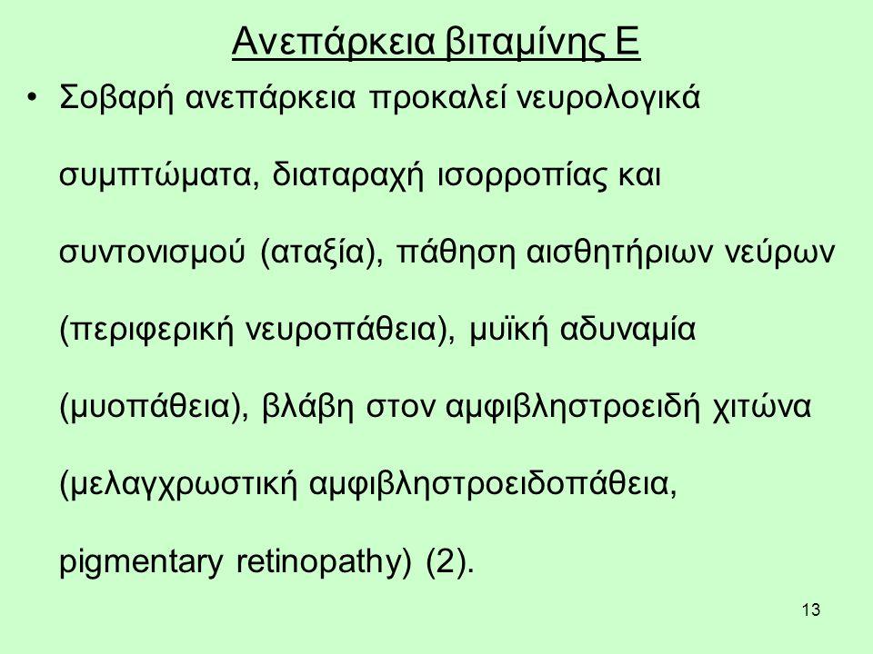13 Ανεπάρκεια βιταμίνης Ε Σοβαρή ανεπάρκεια προκαλεί νευρολογικά συμπτώματα, διαταραχή ισορροπίας και συντονισμού (αταξία), πάθηση αισθητήριων νεύρων (περιφερική νευροπάθεια), μυϊκή αδυναμία (μυοπάθεια), βλάβη στον αμφιβληστροειδή χιτώνα (μελαγχρωστική αμφιβληστροειδοπάθεια, pigmentary retinopathy) (2).