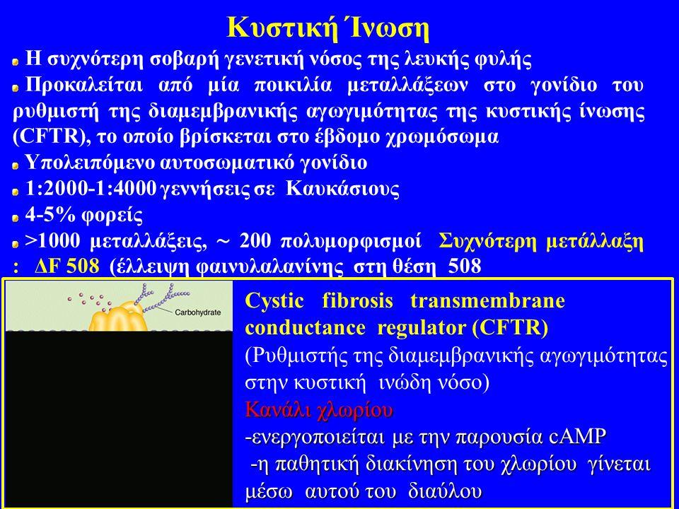Κυστική Ίνωση Η συχνότερη σοβαρή γενετική νόσος της λευκής φυλής Προκαλείται από μία ποικιλία μεταλλάξεων στο γονίδιο του ρυθμιστή της διαμεμβρανικής αγωγιμότητας της κυστικής ίνωσης (CFTR), το οποίο βρίσκεται στο έβδομο χρωμόσωμα Υπολειπόμενο αυτοσωματικό γονίδιο 1:2000-1:4000 γεννήσεις σε Καυκάσιους 4-5% φορείς >1000 μεταλλάξεις, ∼ 200 πολυμορφισμοί Συχνότερη μετάλλαξη : ΔF 508 (έλλειψη φαινυλαλανίνης στη θέση 508 Cystic fibrosis transmembrane conductance regulator (CFTR) (Ρυθμιστής της διαμεμβρανικής αγωγιμότητας στην κυστική ινώδη νόσο) Κανάλι χλωρίου -ενεργοποιείται με την παρουσία cAMP -η παθητική διακίνηση του χλωρίου γίνεται μέσω αυτού του διαύλου -η παθητική διακίνηση του χλωρίου γίνεται μέσω αυτού του διαύλου