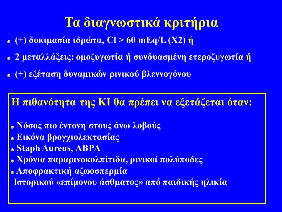 Τα διαγνωστικά κριτήρια (+) δοκιμασία ιδρώτα, Cl > 60 mEq/L (Χ2) ή 2 μεταλλάξεις: ομοζυγωτία ή συνδυασμένη ετεροζυγωτία ή (+) εξέταση δυναμικών ρινικού βλεννογόνου Η πιθανότητα της ΚΙ θα πρέπει να εξετάζεται όταν: Νόσος πιο έντονη στους άνω λοβούς Εικόνα βρογχιολεκτασίας Staph Aureus, ABPA Χρόνια παραρινοκολπίτιδα, ρινικοί πολύποδες Αποφρακτική αζωοσπερμία Ιστορικού «επίμονου άσθματος» από παιδικής ηλικία
