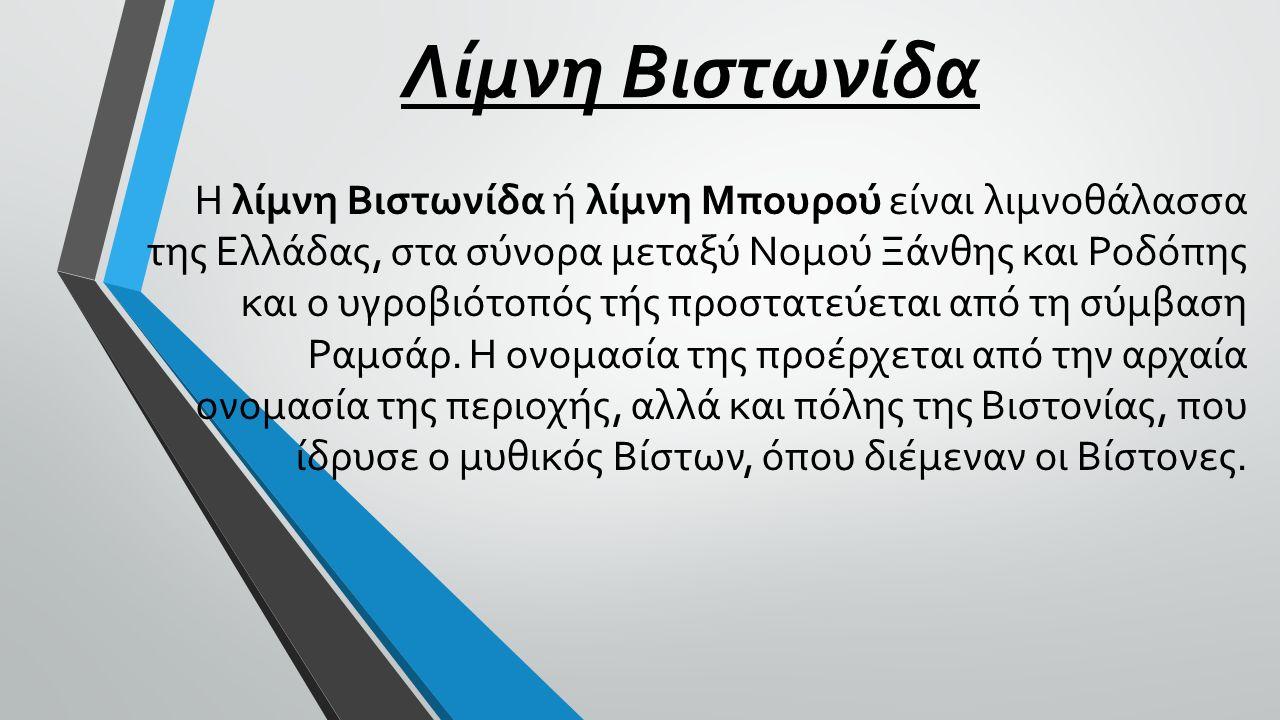 Λίμνη Βιστωνίδα Η λίμνη Βιστωνίδα ή λίμνη Μπουρού είναι λιμνοθάλασσα της Ελλάδας, στα σύνορα μεταξύ Νομού Ξάνθης και Ροδόπης και ο υγροβιότοπός τής πρ