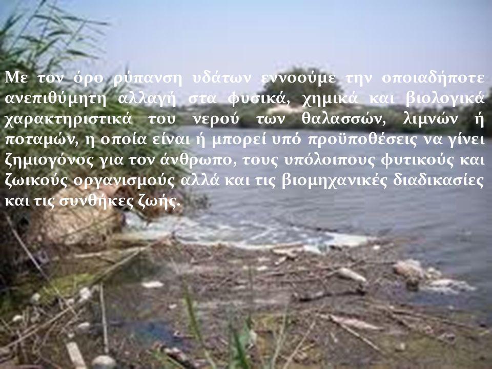 Με τον όρο ρύπανση υδάτων εννοούμε την οποιαδήποτε ανεπιθύμητη αλλαγή στα φυσικά, χημικά και βιολογικά χαρακτηριστικά του νερού των θαλασσών, λιμνών ή ποταμών, η οποία είναι ή μπορεί υπό προϋποθέσεις να γίνει ζημιογόνος για τον άνθρωπο, τους υπόλοιπους φυτικούς και ζωικούς οργανισμούς αλλά και τις βιομηχανικές διαδικασίες και τις συνθήκες ζωής.