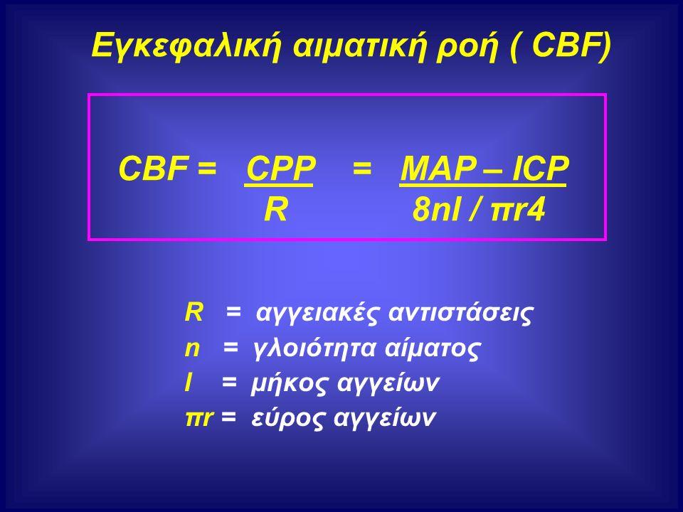 R = αγγειακές αντιστάσεις n = γλοιότητα αίματος l = μήκος αγγείων πr = εύρος αγγείων Εγκεφαλική αιματική ροή ( CBF) CBF = CPP = MAP – ICP R 8nl / πr4