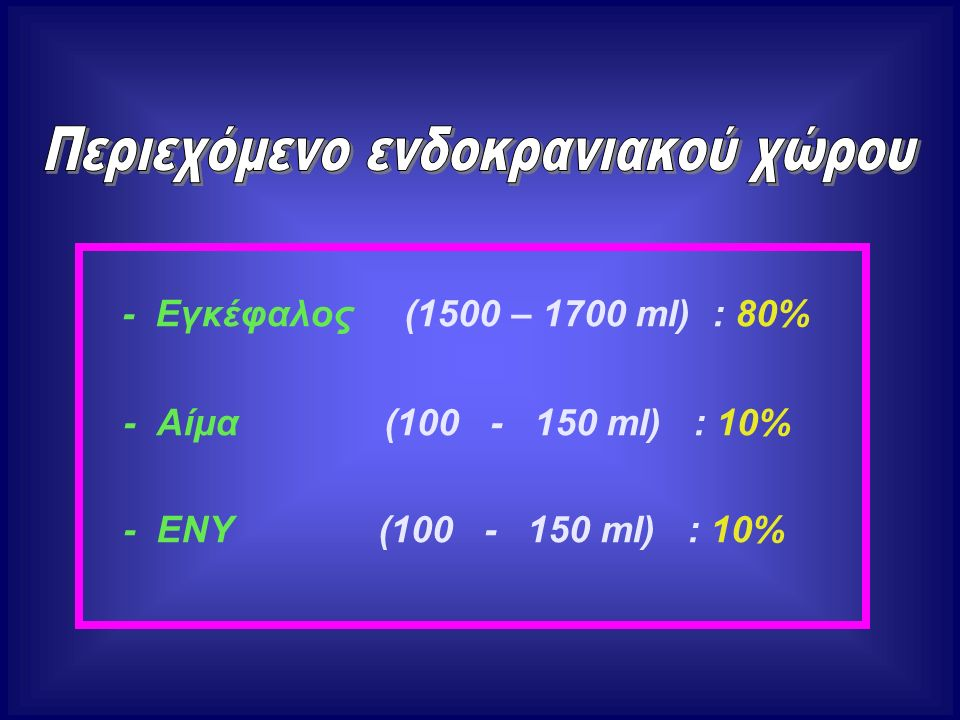 - Εγκέφαλος (1500 – 1700 ml) : 80% - Αίμα (100 - 150 ml) : 10% - ΕΝΥ (100 - 150 ml) : 10%