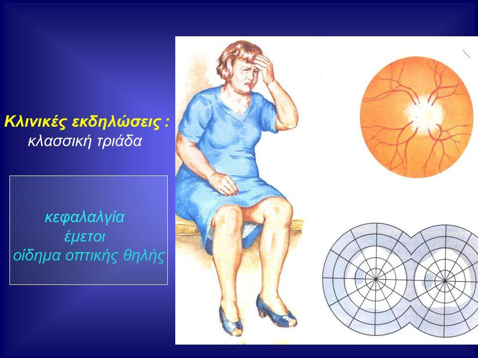 Κλινικές εκδηλώσεις : κλασσική τριάδα κεφαλαλγία έμετοι οίδημα οπτικής θηλής