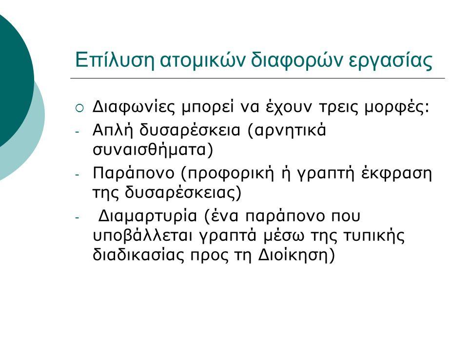 Επίλυση ατομικών διαφορών εργασίας  Διαφωνίες μπορεί να έχουν τρεις μορφές: - Απλή δυσαρέσκεια (αρνητικά συναισθήματα) - Παράπονο (προφορική ή γραπτή έκφραση της δυσαρέσκειας) - Διαμαρτυρία (ένα παράπονο που υποβάλλεται γραπτά μέσω της τυπικής διαδικασίας προς τη Διοίκηση)