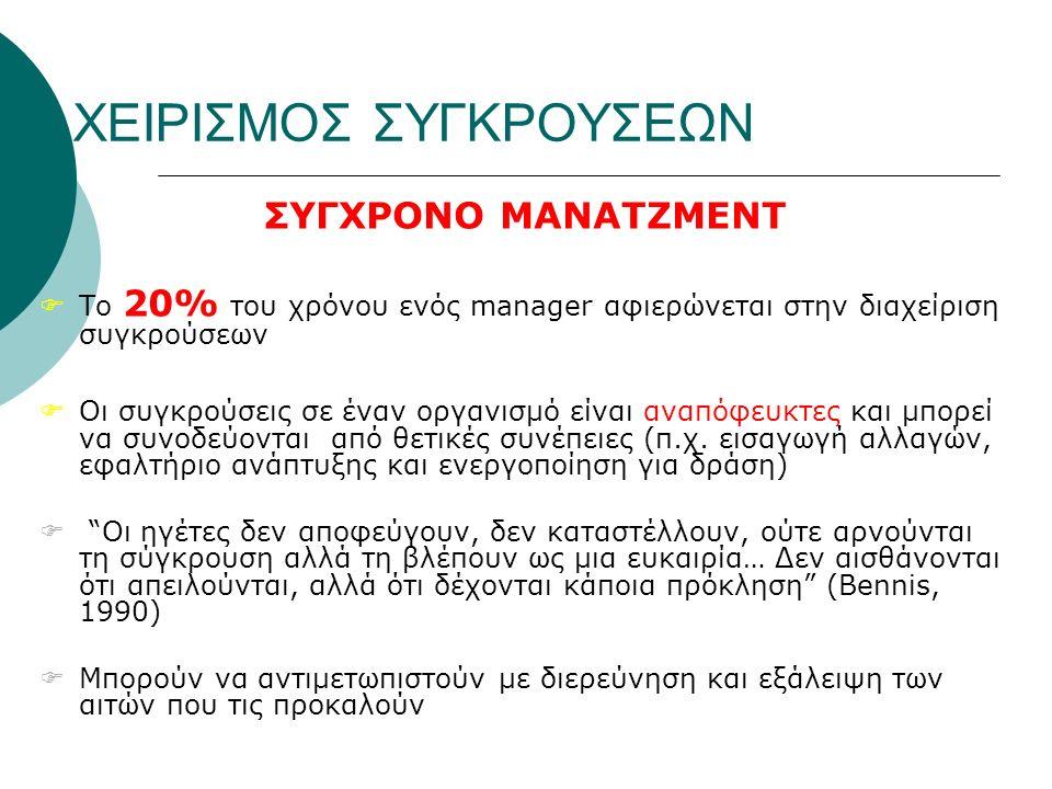 ΧΕΙΡΙΣΜΟΣ ΣΥΓΚΡΟΥΣΕΩΝ ΣΥΓΧΡΟΝΟ ΜΑΝΑΤΖΜΕΝΤ  Το 20% του χρόνου ενός manager αφιερώνεται στην διαχείριση συγκρούσεων  Οι συγκρούσεις σε έναν οργανισμό είναι αναπόφευκτες και μπορεί να συνοδεύονται από θετικές συνέπειες (π.χ.
