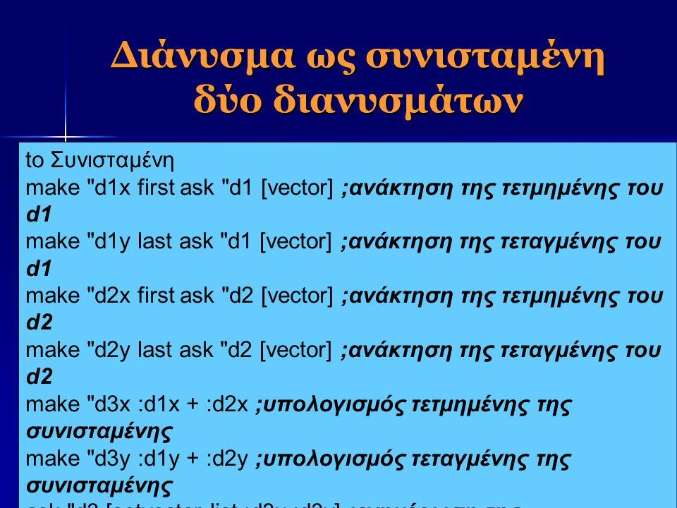 Διάνυσμα ως συνισταμένη δύο διανυσμάτων to Συνισταμένη make d1x first ask d1 [vector] ;ανάκτηση της τετμημένης του d1 make d1y last ask d1 [vector] ;ανάκτηση της τεταγμένης του d1 make d2x first ask d2 [vector] ;ανάκτηση της τετμημένης του d2 make d2y last ask d2 [vector] ;ανάκτηση της τεταγμένης του d2 make d3x :d1x + :d2x ;υπολογισμός τετμημένης της συνισταμένης make d3y :d1y + :d2y ;υπολογισμός τεταγμένης της συνισταμένης ask d3 [setvector list :d3x :d3y] ;ενημέρωση της συνισταμένης end