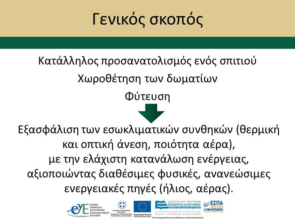 Γενικός σκοπός Κατάλληλος προσανατολισμός ενός σπιτιού Χωροθέτηση των δωματίων Φύτευση Εξασφάλιση των εσωκλιματικών συνθηκών (θερμική και οπτική άνεση, ποιότητα αέρα), με την ελάχιστη κατανάλωση ενέργειας, αξιοποιώντας διαθέσιμες φυσικές, ανανεώσιμες ενεργειακές πηγές (ήλιος, αέρας).