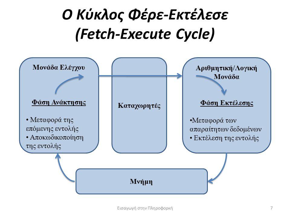 Ο Κύκλος Φέρε-Εκτέλεσε (Fetch-Execute Cycle) Εισαγωγή στην Πληροφορκή7 Μονάδα Ελέγχου Φάση Ανάκτησης Μεταφορά της επόμενης εντολής Αποκωδικοποίηση της εντολής Αριθμητική/Λογική Μονάδα Φάση Εκτέλεσης Μεταφορά των απαραίτητων δεδομένων Εκτέλεση της εντολής Καταχωρητές Μνήμη