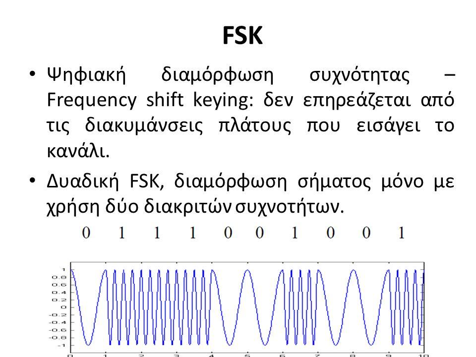 FSK Ψηφιακή διαμόρφωση συχνότητας – Frequency shift keying: δεν επηρεάζεται από τις διακυμάνσεις πλάτους που εισάγει το κανάλι.