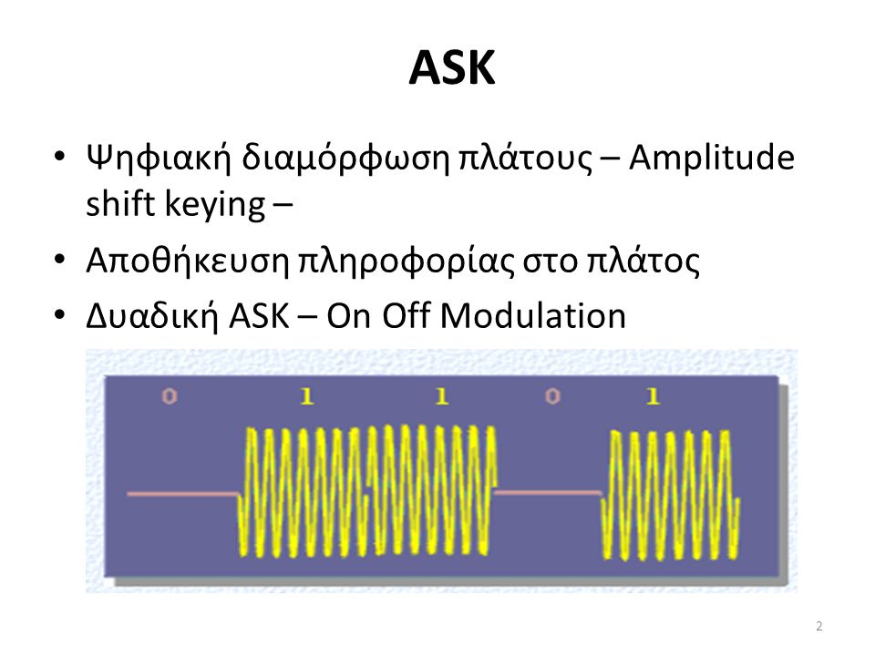 ASK Ψηφιακή διαμόρφωση πλάτους – Amplitude shift keying – Αποθήκευση πληροφορίας στο πλάτος Δυαδική ASK – On Off Modulation 2