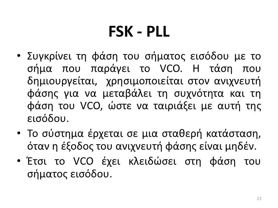FSK - PLL Συγκρίνει τη φάση του σήματος εισόδου με το σήμα που παράγει το VCO.