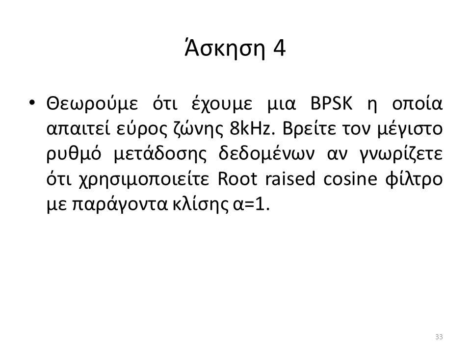 Άσκηση 4 Θεωρούμε ότι έχουμε μια BPSK η οποία απαιτεί εύρος ζώνης 8kHz.
