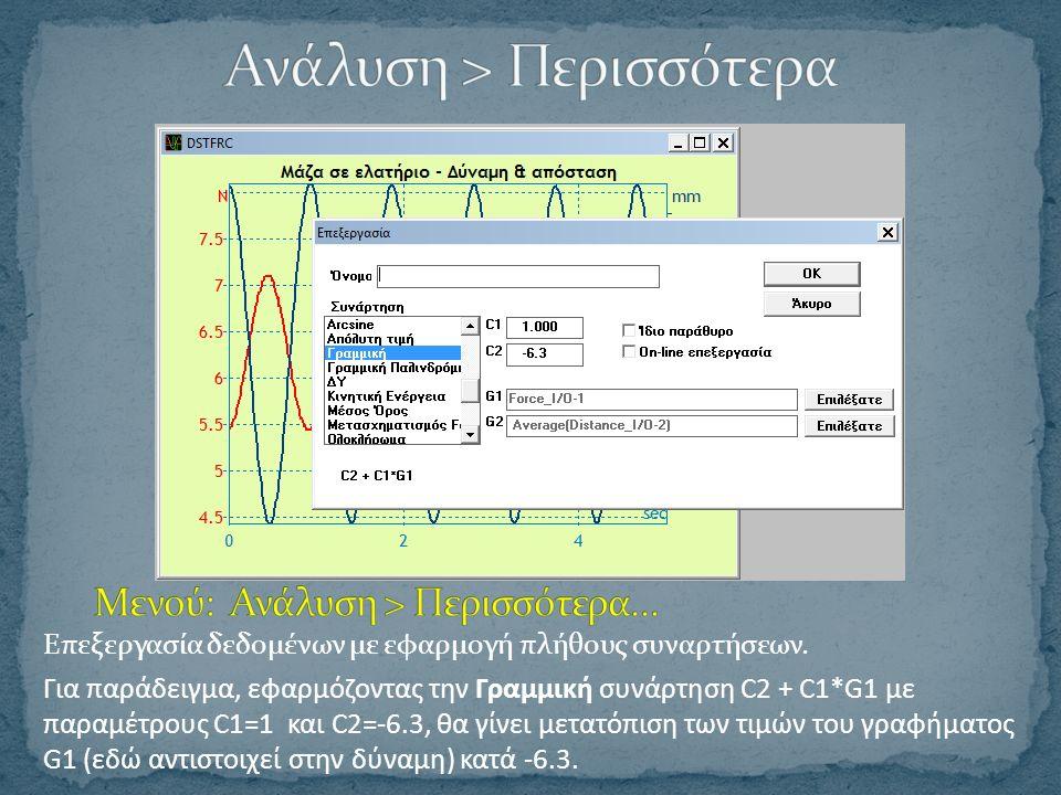 Επεξεργασία δεδομένων με εφαρμογή πλήθους συναρτήσεων.