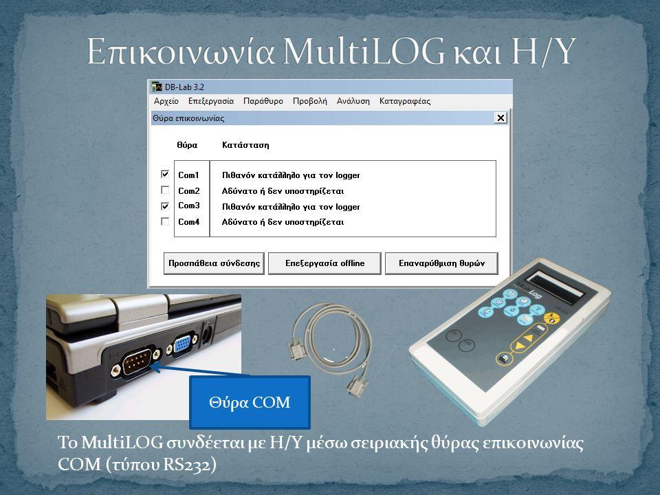 Το MultiLOG συνδέεται με Η/Υ μέσω σειριακής θύρας επικοινωνίας COM (τύπου RS232) Θύρα COM