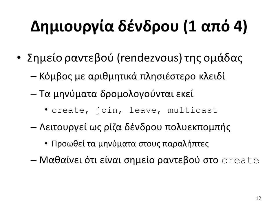 Δημιουργία δένδρου (1 από 4) Σημείο ραντεβού (rendezvous) της ομάδας – Κόμβος με αριθμητικά πλησιέστερο κλειδί – Τα μηνύματα δρομολογούνται εκεί create, join, leave, multicast – Λειτουργεί ως ρίζα δένδρου πολυεκπομπής Προωθεί τα μηνύματα στους παραλήπτες – Μαθαίνει ότι είναι σημείο ραντεβού στο create 12