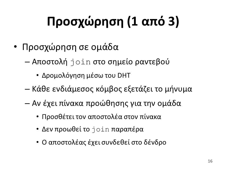 Προσχώρηση (1 από 3) Προσχώρηση σε ομάδα – Αποστολή join στο σημείο ραντεβού Δρομολόγηση μέσω του DHT – Κάθε ενδιάμεσος κόμβος εξετάζει το μήνυμα – Αν έχει πίνακα προώθησης για την ομάδα Προσθέτει τον αποστολέα στον πίνακα Δεν προωθεί το join παραπέρα Ο αποστολέας έχει συνδεθεί στο δένδρο 16