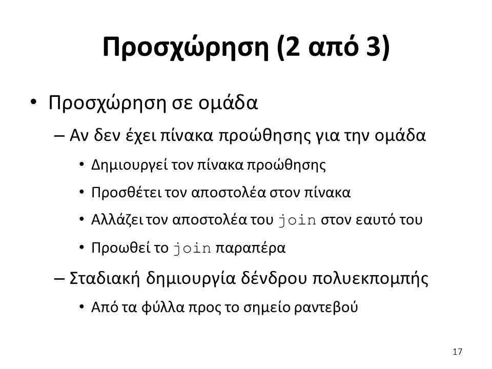 Προσχώρηση (2 από 3) Προσχώρηση σε ομάδα – Αν δεν έχει πίνακα προώθησης για την ομάδα Δημιουργεί τον πίνακα προώθησης Προσθέτει τον αποστολέα στον πίνακα Αλλάζει τον αποστολέα του join στον εαυτό του Προωθεί το join παραπέρα – Σταδιακή δημιουργία δένδρου πολυεκπομπής Από τα φύλλα προς το σημείο ραντεβού 17