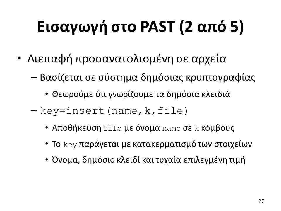 Εισαγωγή στο PAST (2 από 5) Διεπαφή προσανατολισμένη σε αρχεία – Βασίζεται σε σύστημα δημόσιας κρυπτογραφίας Θεωρούμε ότι γνωρίζουμε τα δημόσια κλειδιά – key=insert(name,k,file) Αποθήκευση file με όνομα name σε k κόμβους Το key παράγεται με κατακερματισμό των στοιχείων Όνομα, δημόσιο κλειδί και τυχαία επιλεγμένη τιμή 27