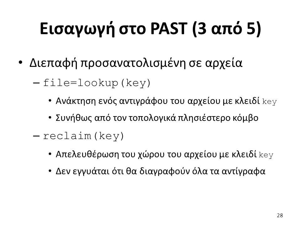 Εισαγωγή στο PAST (3 από 5) Διεπαφή προσανατολισμένη σε αρχεία – file=lookup(key) Ανάκτηση ενός αντιγράφου του αρχείου με κλειδί key Συνήθως από τον τοπολογικά πλησιέστερο κόμβο – reclaim(key) Απελευθέρωση του χώρου του αρχείου με κλειδί key Δεν εγγυάται ότι θα διαγραφούν όλα τα αντίγραφα 28