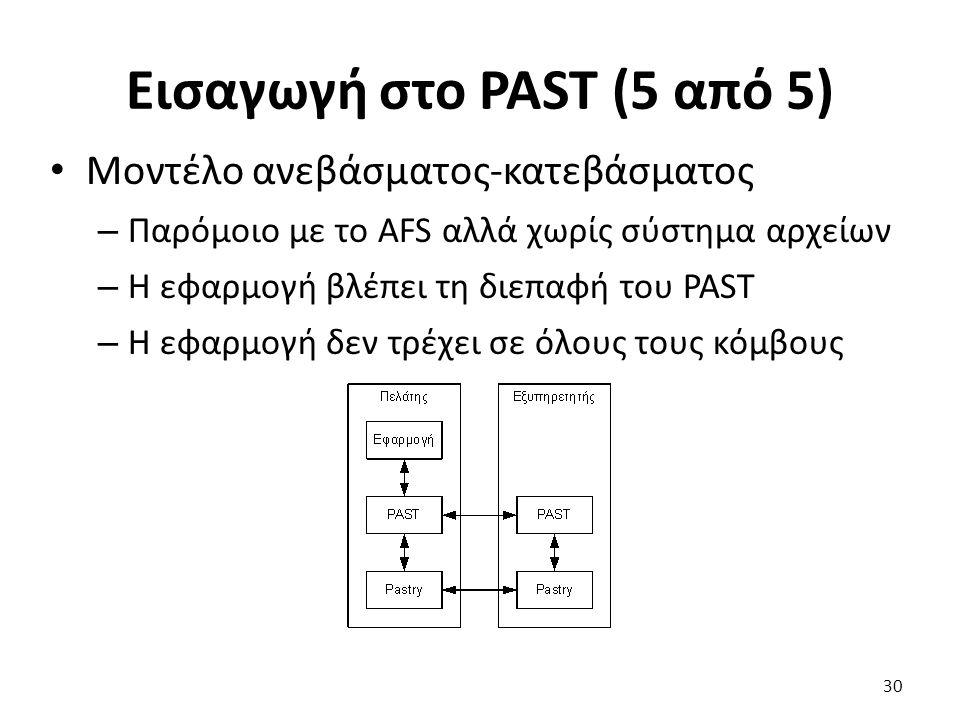 Εισαγωγή στο PAST (5 από 5) Μοντέλο ανεβάσματος-κατεβάσματος – Παρόμοιο με το AFS αλλά χωρίς σύστημα αρχείων – Η εφαρμογή βλέπει τη διεπαφή του PAST – Η εφαρμογή δεν τρέχει σε όλους τους κόμβους 30