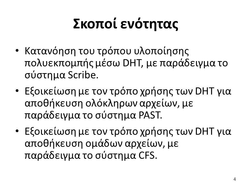Σκοποί ενότητας Κατανόηση του τρόπου υλοποίησης πολυεκπομπής μέσω DHT, με παράδειγμα το σύστημα Scribe. Εξοικείωση με τον τρόπο χρήσης των DHT για απο