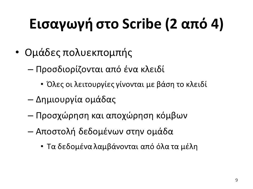 Εισαγωγή στο Scribe (2 από 4) Ομάδες πολυεκπομπής – Προσδιορίζονται από ένα κλειδί Όλες οι λειτουργίες γίνονται με βάση το κλειδί – Δημιουργία ομάδας – Προσχώρηση και αποχώρηση κόμβων – Αποστολή δεδομένων στην ομάδα Τα δεδομένα λαμβάνονται από όλα τα μέλη 9