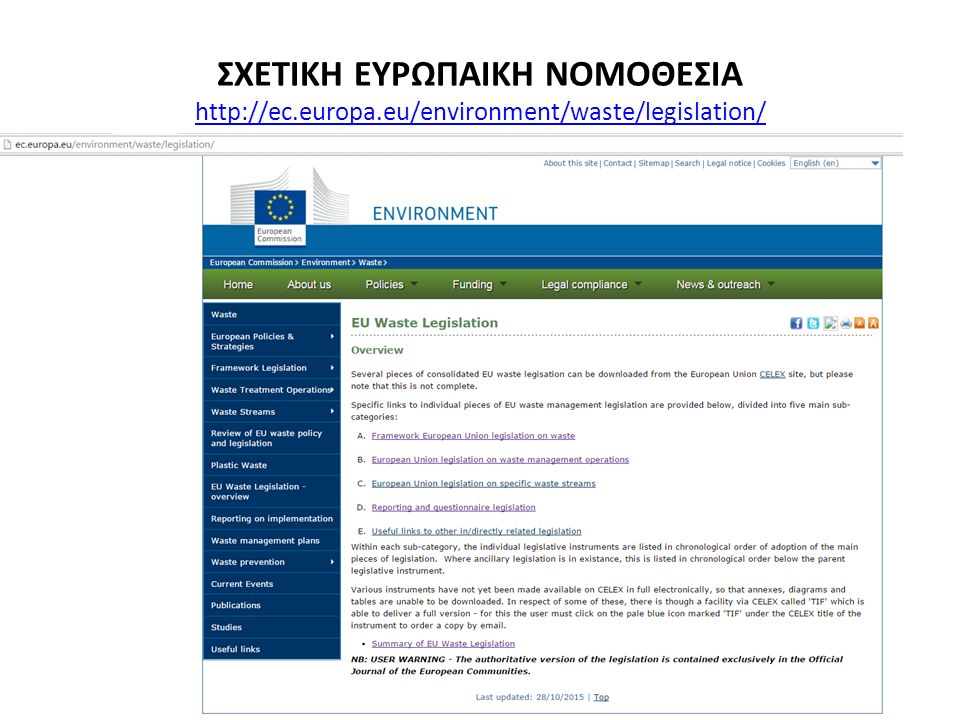 ΣΧΕΤΙΚΗ ΕΥΡΩΠΑΙΚΗ ΝΟΜΟΘΕΣΙΑ http://ec.europa.eu/environment/waste/legislation/ http://ec.europa.eu/environment/waste/legislation/