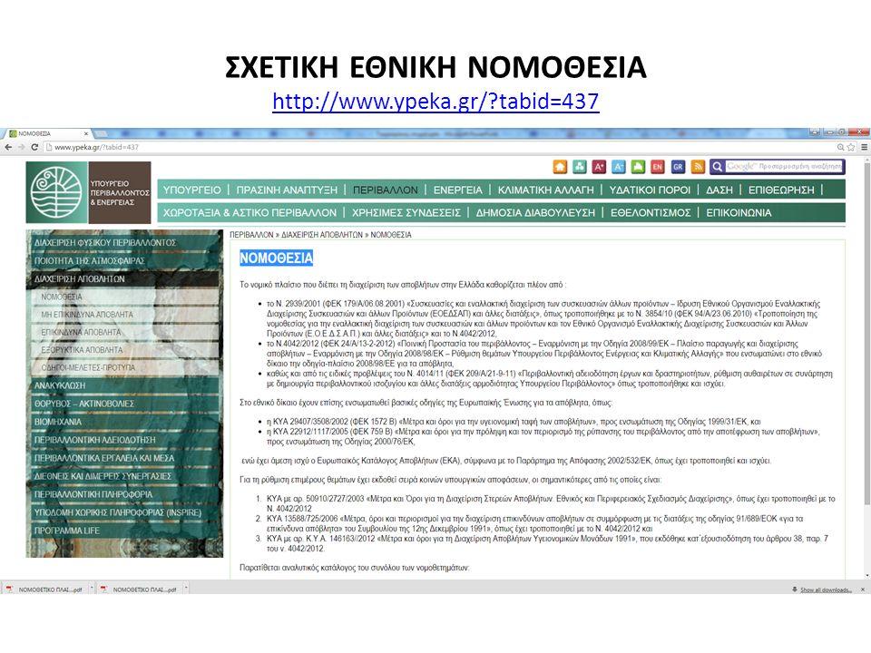 ΣΧΕΤΙΚΗ ΕΘΝΙΚΗ ΝΟΜΟΘΕΣΙΑ http://www.ypeka.gr/ tabid=437 http://www.ypeka.gr/ tabid=437