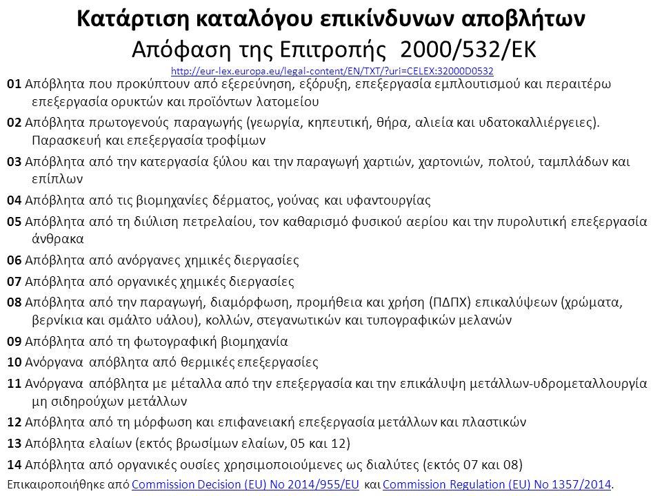Κατάρτιση καταλόγου επικίνδυνων αποβλήτων Απόφαση της Επιτροπής 2000/532/ΕΚ http://eur-lex.europa.eu/legal-content/EN/TXT/ uri=CELEX:32000D0532http://eur-lex.europa.eu/legal-content/EN/TXT/ uri=CELEX:32000D0532 01 Απόβλητα που προκύπτουν από εξερεύνηση, εξόρυξη, επεξεργασία εμπλουτισμού και περαιτέρω επεξεργασία ορυκτών και προϊόντων λατομείου 02 Απόβλητα πρωτογενούς παραγωγής (γεωργία, κηπευτική, θήρα, αλιεία και υδατοκαλλιέργειες).