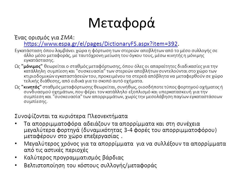 Μεταφορά Ένας ορισμός για ΣΜΑ: https://www.espa.gr/el/pages/DictionaryFS.aspx?item=392. https://www.espa.gr/el/pages/DictionaryFS.aspx?item=392 Εγκατά