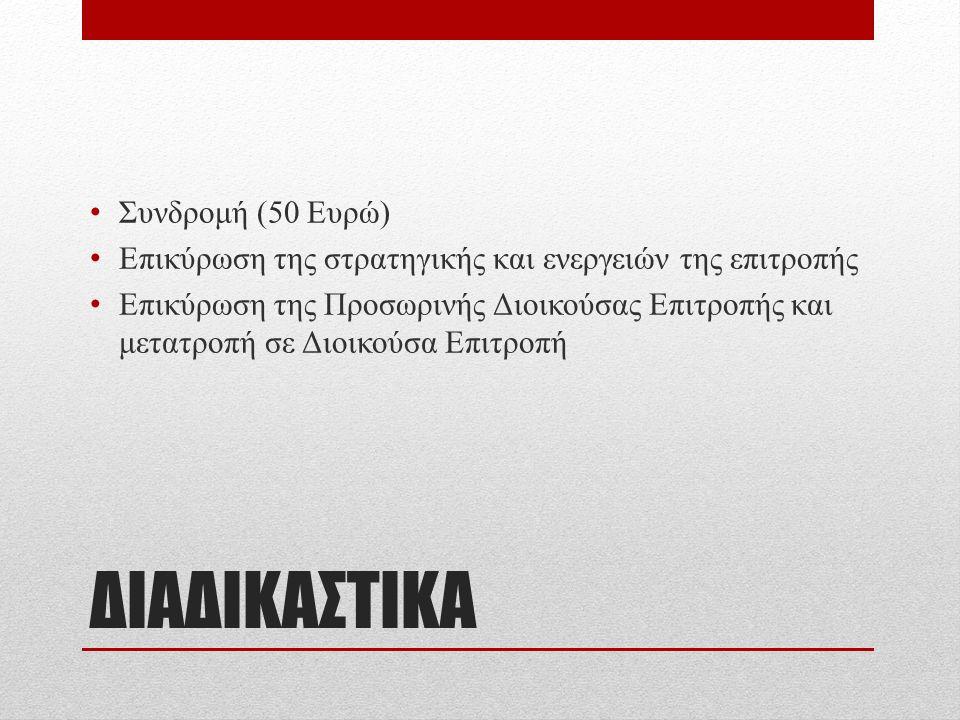 ΔΙΑΔΙΚΑΣΤΙΚΑ Συνδρομή (50 Ευρώ) Επικύρωση της στρατηγικής και ενεργειών της επιτροπής Επικύρωση της Προσωρινής Διοικούσας Επιτροπής και μετατροπή σε Διοικούσα Επιτροπή