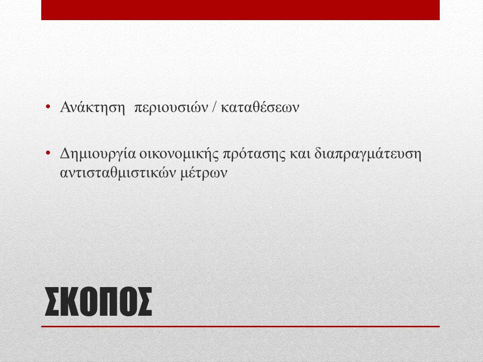 ΣΚΟΠΟΣ Ανάκτηση περιουσιών / καταθέσεων Δημιουργία οικονομικής πρότασης και διαπραγμάτευση αντισταθμιστικών μέτρων