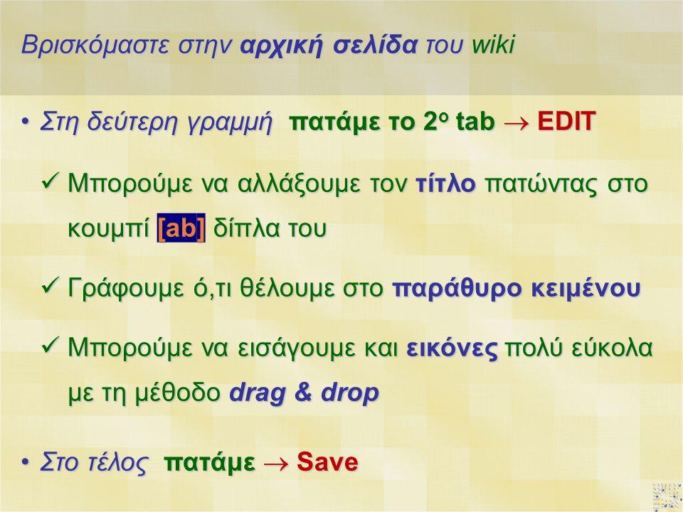 Βρισκόμαστε στην αρχική σελίδα του wiki Στη δεύτερη γραμμή πατάμε το 2 ο tab  EDITΣτη δεύτερη γραμμή πατάμε το 2 ο tab  EDIT Μπορούμε να αλλάξουμε τον τίτλο πατώντας στο κουμπί [ab] δίπλα του Μπορούμε να αλλάξουμε τον τίτλο πατώντας στο κουμπί [ab] δίπλα του Γράφουμε ό,τι θέλουμε στο παράθυρο κειμένου Γράφουμε ό,τι θέλουμε στο παράθυρο κειμένου Μπορούμε να εισάγουμε και εικόνες πολύ εύκολα με τη μέθοδο drag & drop Μπορούμε να εισάγουμε και εικόνες πολύ εύκολα με τη μέθοδο drag & drop Στο τέλος πατάμε  SaveΣτο τέλος πατάμε  Save