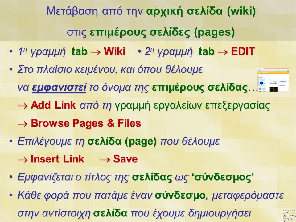 1 η γραμμή tab  Wiki 2 η γραμμή tab  EDIT1 η γραμμή tab  Wiki 2 η γραμμή tab  EDIT Στο πλαίσιο κειμένου, και όπου θέλουμε να εμφανιστεί το όνομα της επιμέρους σελίδας…Στο πλαίσιο κειμένου, και όπου θέλουμε να εμφανιστεί το όνομα της επιμέρους σελίδας…  Add Link από τη γραμμή εργαλείων επεξεργασίας  Browse Pages & Files Επιλέγουμε τη σελίδα (page) που θέλουμεΕπιλέγουμε τη σελίδα (page) που θέλουμε  Insert Link  Save Εμφανίζεται ο τίτλος της σελίδας ως 'σύνδεσμος'Εμφανίζεται ο τίτλος της σελίδας ως 'σύνδεσμος' Κάθε φορά που πατάμε έναν σύνδεσμο, μεταφερόμαστε στην αντίστοιχη σελίδα που έχουμε δημιουργήσειΚάθε φορά που πατάμε έναν σύνδεσμο, μεταφερόμαστε στην αντίστοιχη σελίδα που έχουμε δημιουργήσει Μετάβαση από την αρχική σελίδα (wiki) στις επιμέρους σελίδες (pages)
