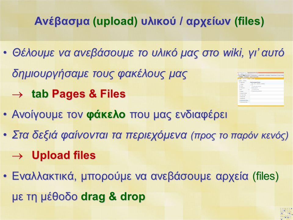 Θέλουμε να ανεβάσουμε το υλικό μας στο wiki, γι' αυτό δημιουργήσαμε τους φακέλους μαςΘέλουμε να ανεβάσουμε το υλικό μας στο wiki, γι' αυτό δημιουργήσαμε τους φακέλους μας  tab Pages & Files Ανοίγουμε τον φάκελο που μας ενδιαφέρειΑνοίγουμε τον φάκελο που μας ενδιαφέρει Στα δεξιά φαίνονται τα περιεχόμενα (προς το παρόν κενός)Στα δεξιά φαίνονται τα περιεχόμενα (προς το παρόν κενός)  Upload files Εναλλακτικά, μπορούμε να ανεβάσουμε αρχεία (files) με τη μέθοδο drag & dropΕναλλακτικά, μπορούμε να ανεβάσουμε αρχεία (files) με τη μέθοδο drag & drop Ανέβασμα (upload) υλικού / αρχείων (files)