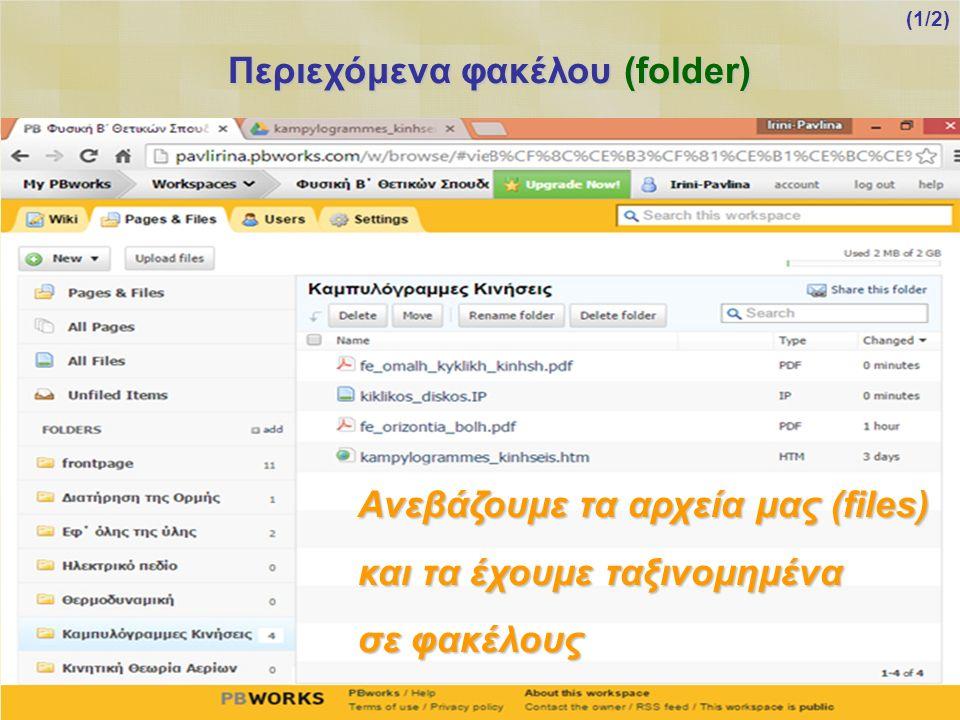 Περιεχόμενα φακέλου (folder) Ανεβάζουμε τα αρχεία μας (files) και τα έχουμε ταξινομημένα σε φακέλους (1/2)
