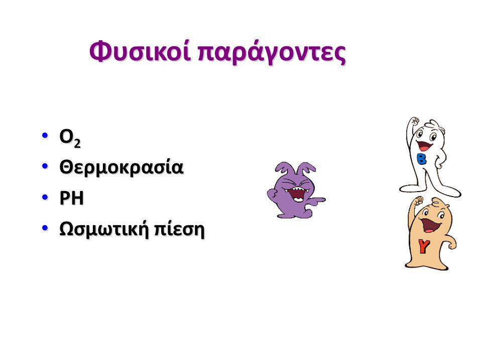 Φυσικοί παράγοντες O 2 O 2 Θερμοκρασία Θερμοκρασία PH PH Ωσμωτική πίεση Ωσμωτική πίεση
