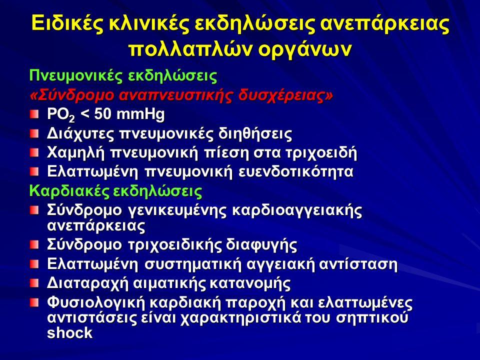 Ειδικές κλινικές εκδηλώσεις ανεπάρκειας πολλαπλών οργάνων Πνευμονικές εκδηλώσεις «Σύνδρομο αναπνευστικής δυσχέρειας» ΡΟ 2 < 50 mmHg Διάχυτες πνευμονικές διηθήσεις Χαμηλή πνευμονική πίεση στα τριχοειδή Ελαττωμένη πνευμονική ευενδοτικότητα Καρδιακές εκδηλώσεις Σύνδρομο γενικευμένης καρδιοαγγειακής ανεπάρκειας Σύνδρομο τριχοειδικής διαφυγής Ελαττωμένη συστηματική αγγειακή αντίσταση Διαταραχή αιματικής κατανομής Φυσιολογική καρδιακή παροχή και ελαττωμένες αντιστάσεις είναι χαρακτηριστικά του σηπτικού shock