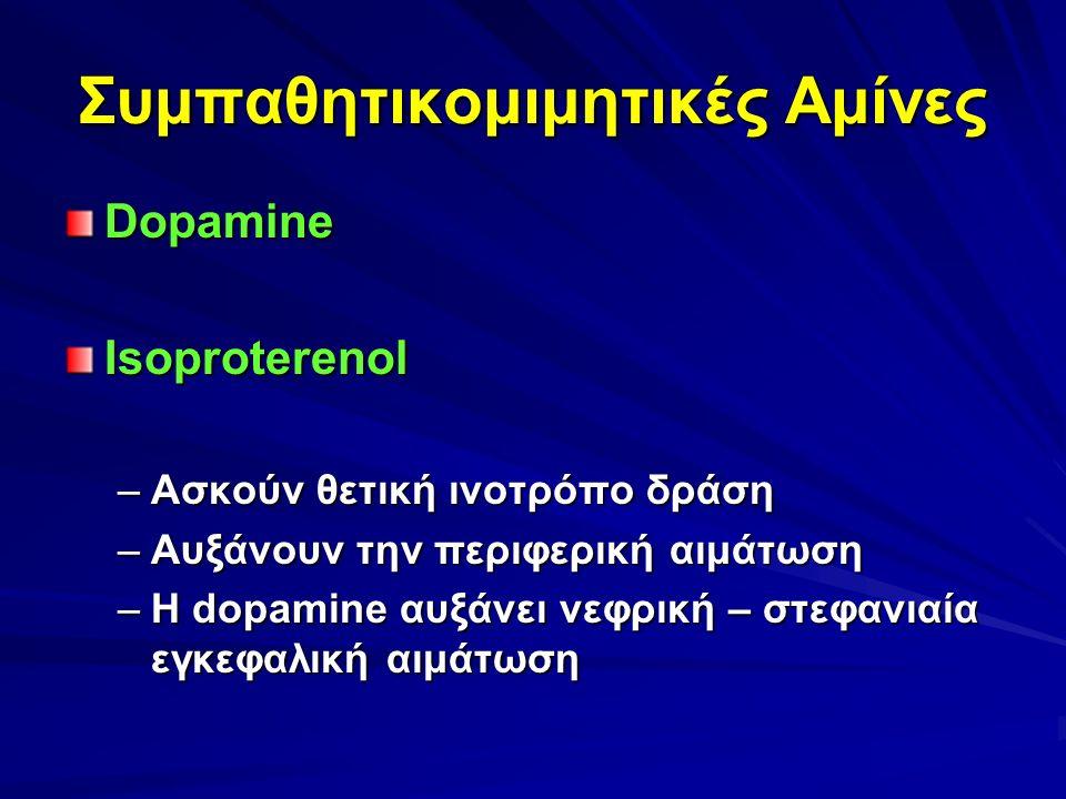 Συμπαθητικομιμητικές Αμίνες DopamineIsoproterenol –Ασκούν θετική ινοτρόπο δράση –Αυξάνουν την περιφερική αιμάτωση –Η dopamine αυξάνει νεφρική – στεφανιαία εγκεφαλική αιμάτωση