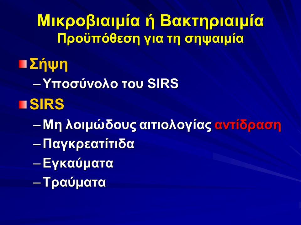 Μικροβιαιμία ή Βακτηριαιμία Προϋπόθεση για τη σηψαιμία Σήψη –Υποσύνολο του SIRS SIRS –Μη λοιμώδους αιτιολογίας αντίδραση –Παγκρεατίτιδα –Εγκαύματα –Τραύματα