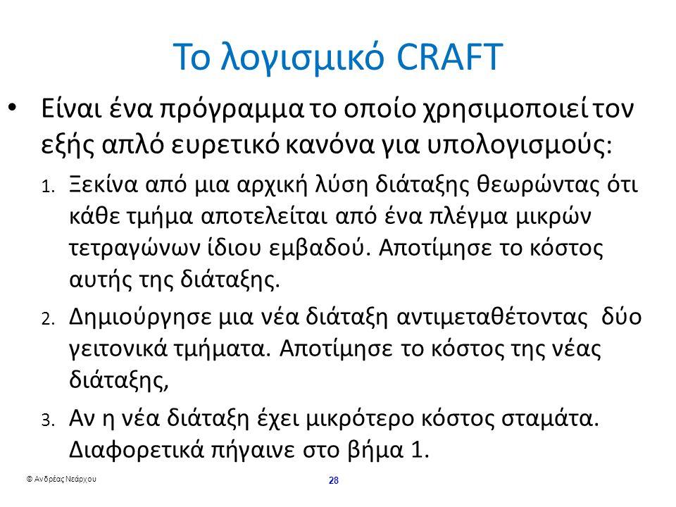 © Ανδρέας Νεάρχου 28 Το λογισμικό CRAFT Είναι ένα πρόγραμμα το οποίο χρησιμοποιεί τον εξής απλό ευρετικό κανόνα για υπολογισμούς : 1.